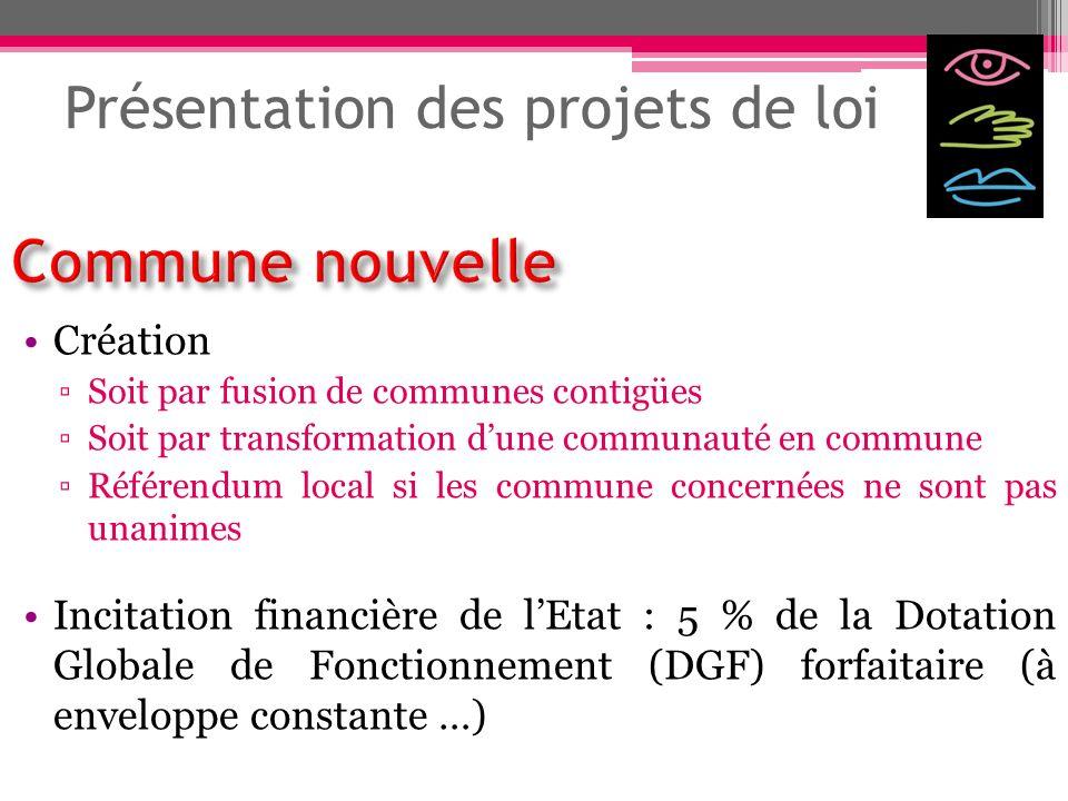 Présentation des projets de loi Création Soit par fusion de communes contigües Soit par transformation dune communauté en commune Référendum local si