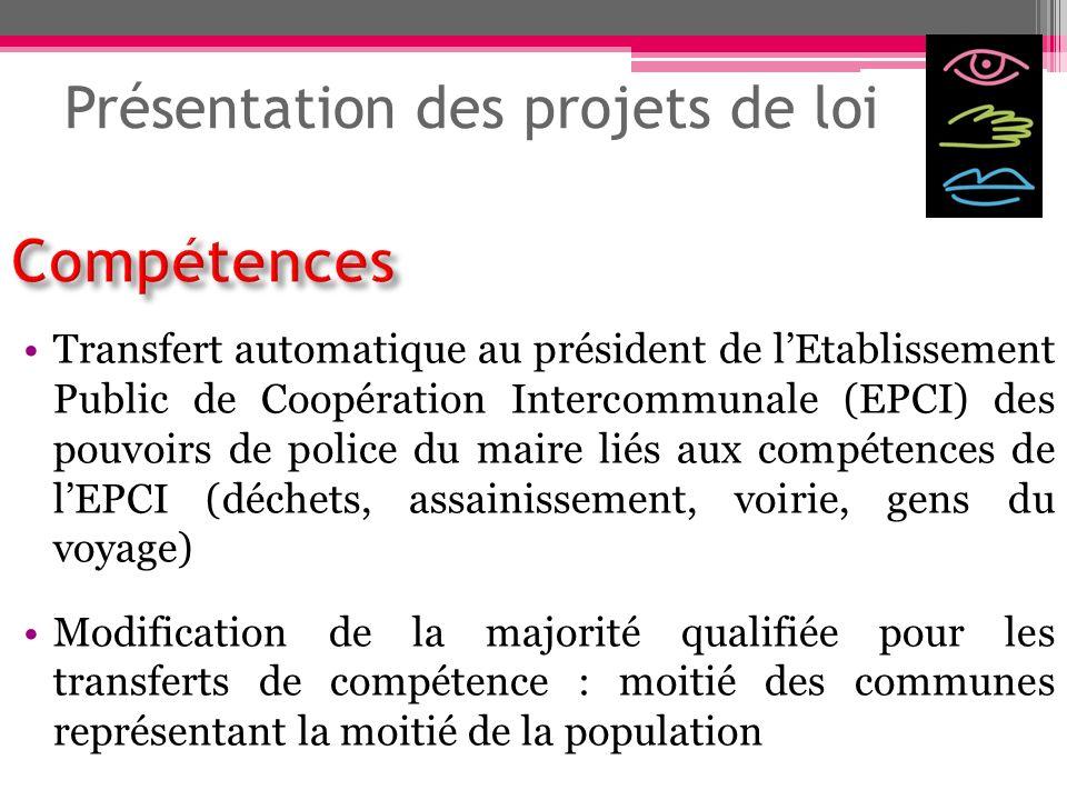Présentation des projets de loi Transfert automatique au président de lEtablissement Public de Coopération Intercommunale (EPCI) des pouvoirs de polic