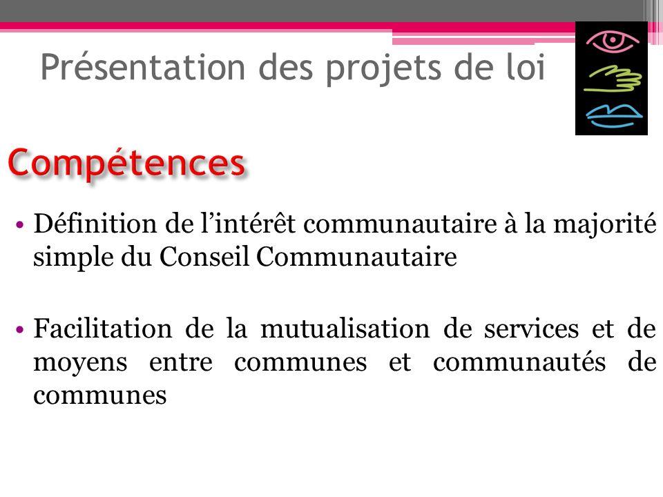 Présentation des projets de loi Définition de lintérêt communautaire à la majorité simple du Conseil Communautaire Facilitation de la mutualisation de