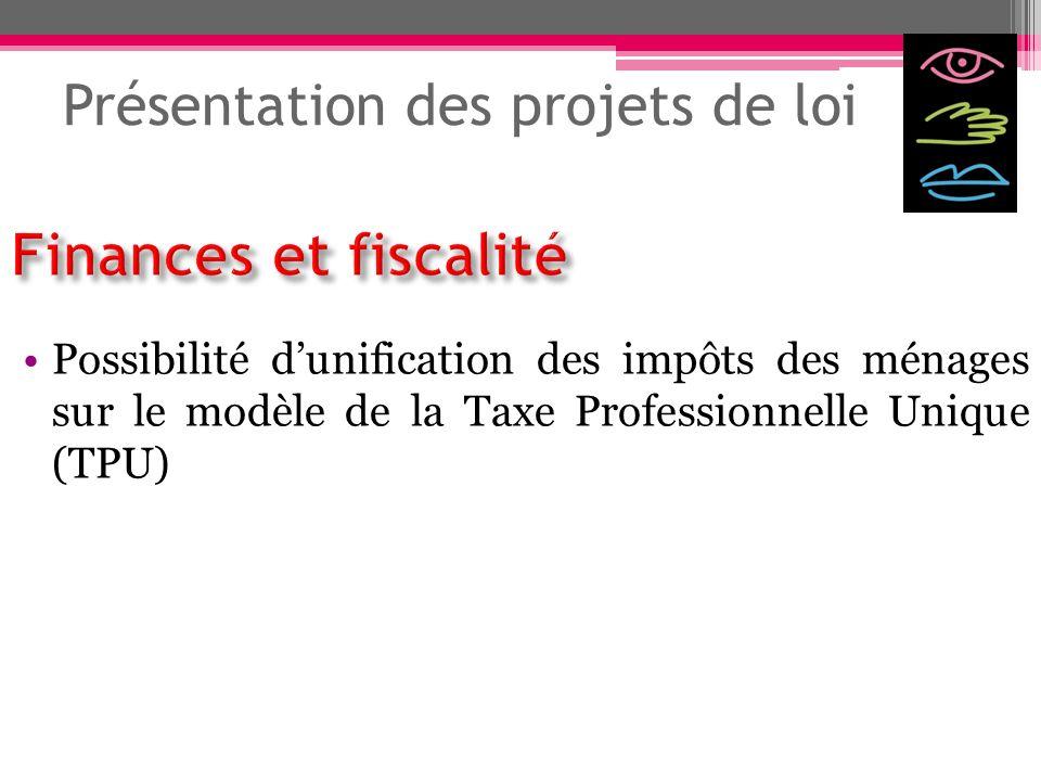 Présentation des projets de loi Possibilité dunification des impôts des ménages sur le modèle de la Taxe Professionnelle Unique (TPU)