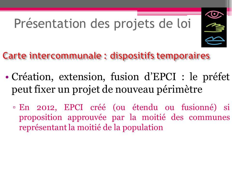 Présentation des projets de loi Création, extension, fusion dEPCI : le préfet peut fixer un projet de nouveau périmètre En 2012, EPCI créé (ou étendu