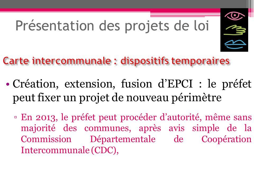 Présentation des projets de loi Création, extension, fusion dEPCI : le préfet peut fixer un projet de nouveau périmètre En 2013, le préfet peut procéd
