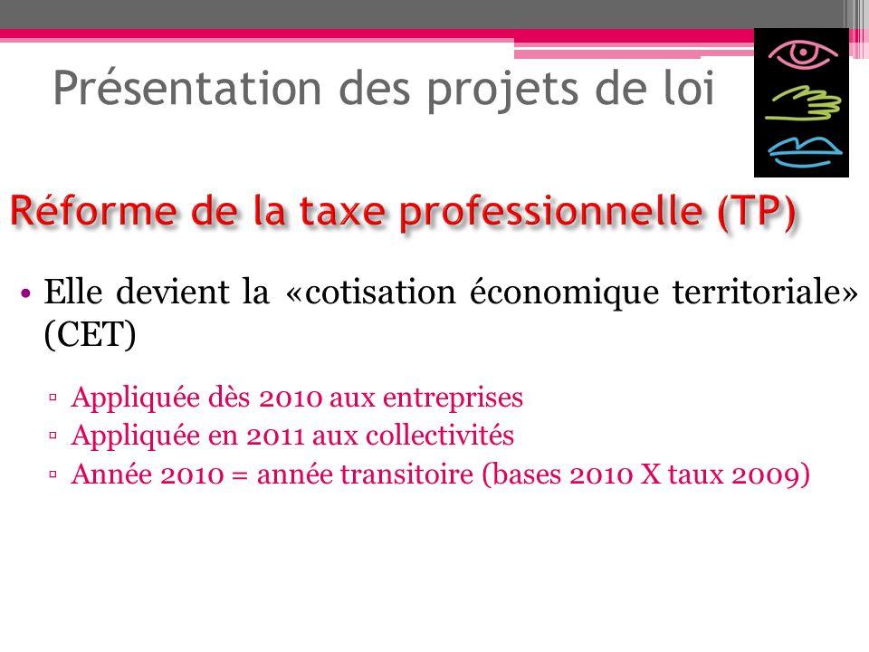 Présentation des projets de loi Elle devient la «cotisation économique territoriale» (CET) Appliquée dès 2010 aux entreprises Appliquée en 2011 aux co