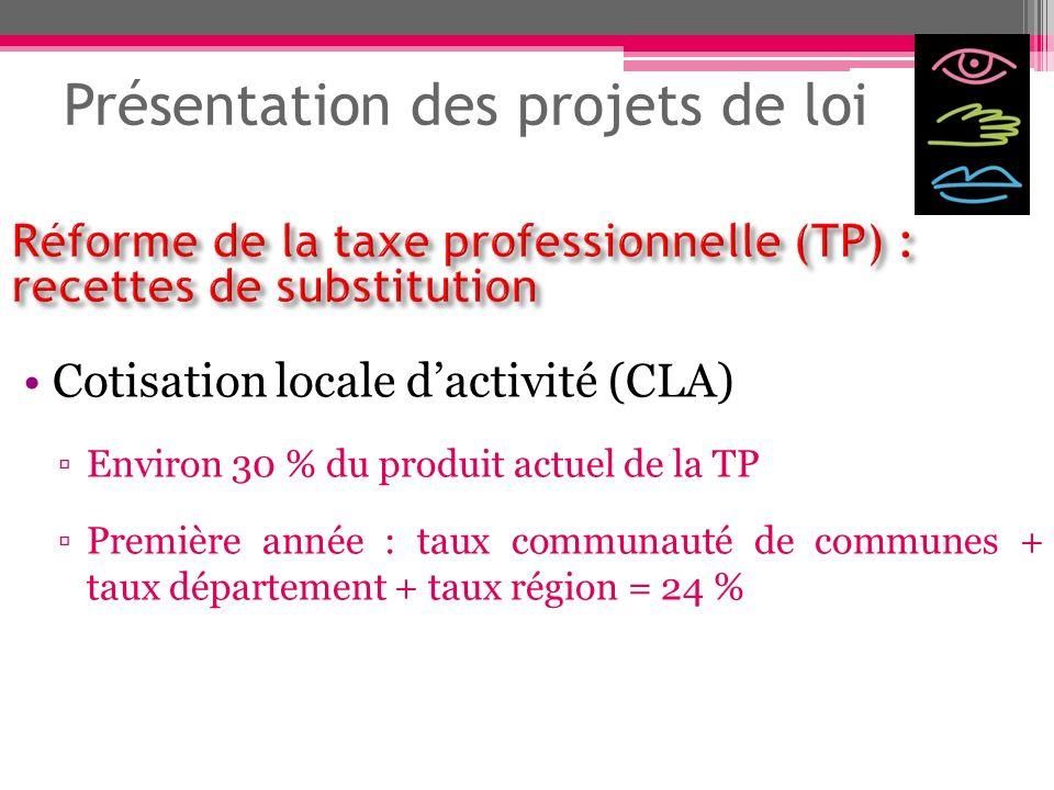 Présentation des projets de loi Cotisation locale dactivité (CLA) Environ 30 % du produit actuel de la TP Première année : taux communauté de communes