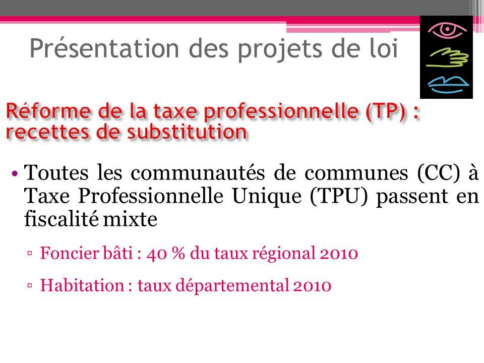 Présentation des projets de loi Toutes les communautés de communes (CC) à Taxe Professionnelle Unique (TPU) passent en fiscalité mixte Foncier bâti :