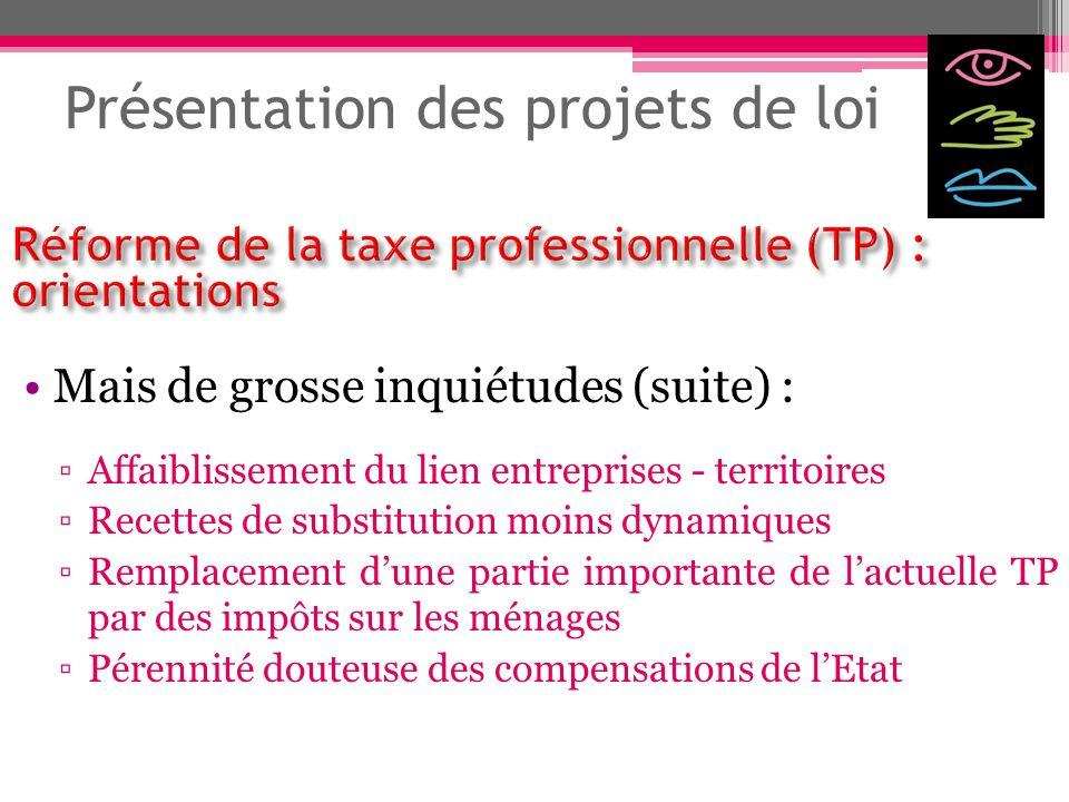 Présentation des projets de loi Mais de grosse inquiétudes (suite) : Affaiblissement du lien entreprises - territoires Recettes de substitution moins