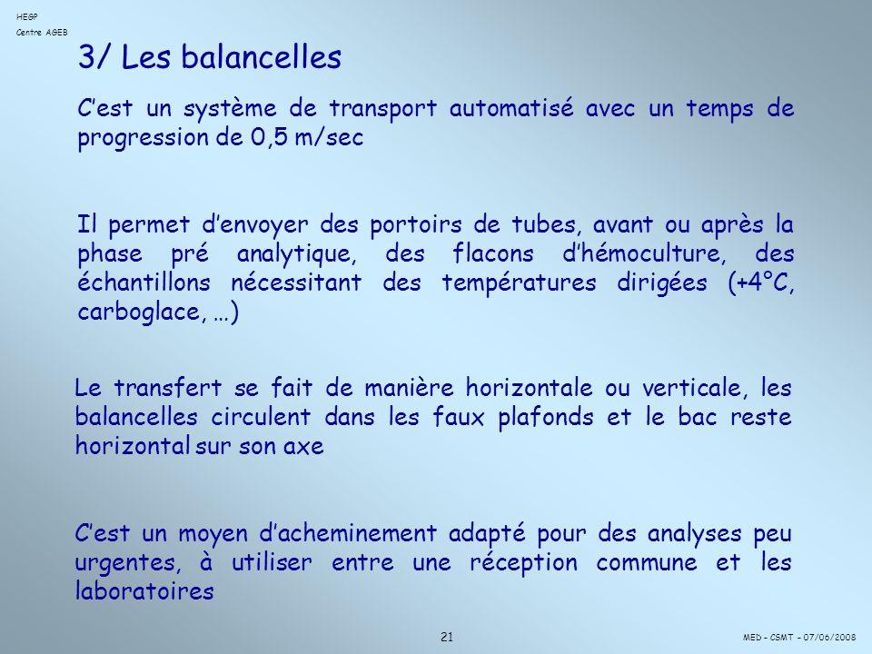 3/ Les balancelles Cest un système de transport automatisé avec un temps de progression de 0,5 m/sec Il permet denvoyer des portoirs de tubes, avant ou après la phase pré analytique, des flacons dhémoculture, des échantillons nécessitant des températures dirigées (+4°C, carboglace, …) 21 MED – CSMT – 07/06/2008 HEGP Centre AGEB Le transfert se fait de manière horizontale ou verticale, les balancelles circulent dans les faux plafonds et le bac reste horizontal sur son axe Cest un moyen dacheminement adapté pour des analyses peu urgentes, à utiliser entre une réception commune et les laboratoires