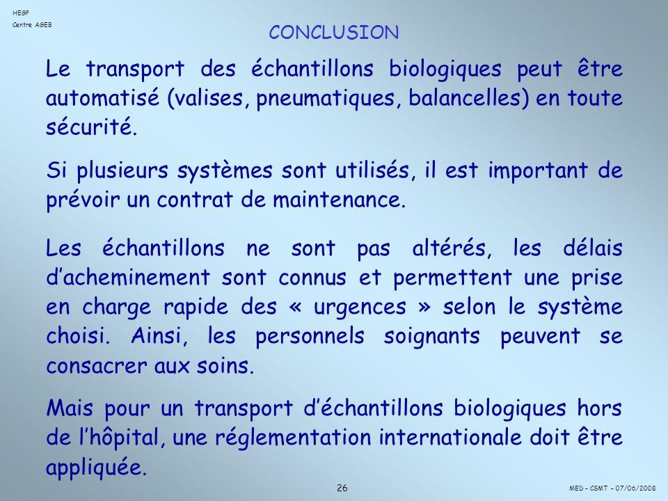 CONCLUSION Le transport des échantillons biologiques peut être automatisé (valises, pneumatiques, balancelles) en toute sécurité.