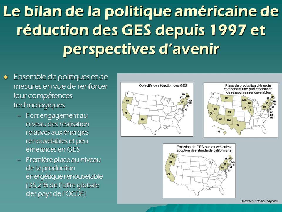 Le bilan de la politique américaine de réduction des GES depuis 1997 et perspectives davenir Ensemble de politiques et de mesures en vue de renforcer