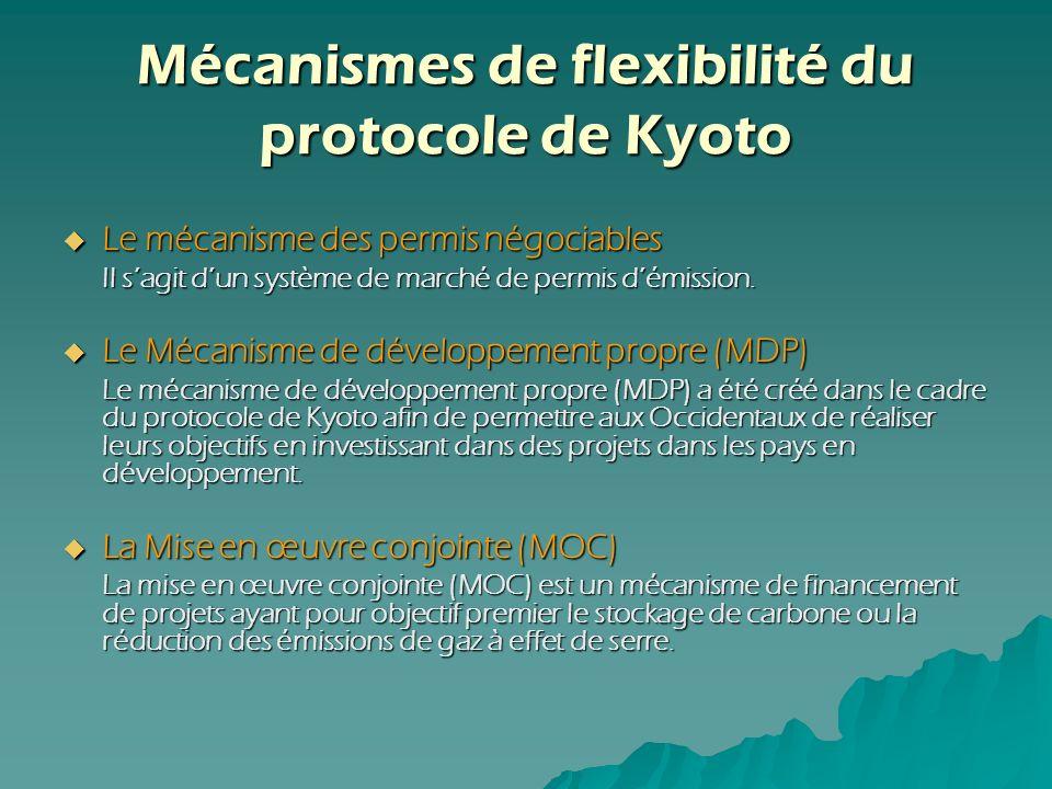 Mécanismes de flexibilité du protocole de Kyoto Le mécanisme des permis négociables Le mécanisme des permis négociables Il sagit dun système de marché