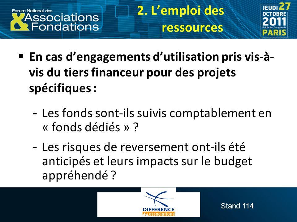 Stand 114 En cas dengagements dutilisation pris vis-à- vis du tiers financeur pour des projets spécifiques :  Les fonds sont-ils suivis comptablement