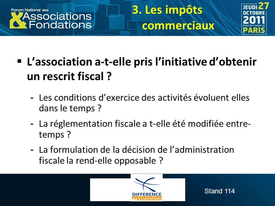 Stand 114 Lassociation a-t-elle pris linitiative dobtenir un rescrit fiscal ?  Les conditions dexercice des activités évoluent elles dans le temps ?