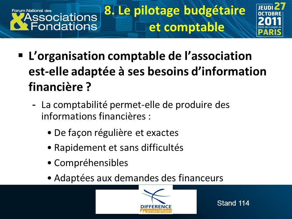 Stand 114 Lorganisation comptable de lassociation est-elle adaptée à ses besoins dinformation financière ?  La comptabilité permet-elle de produire d