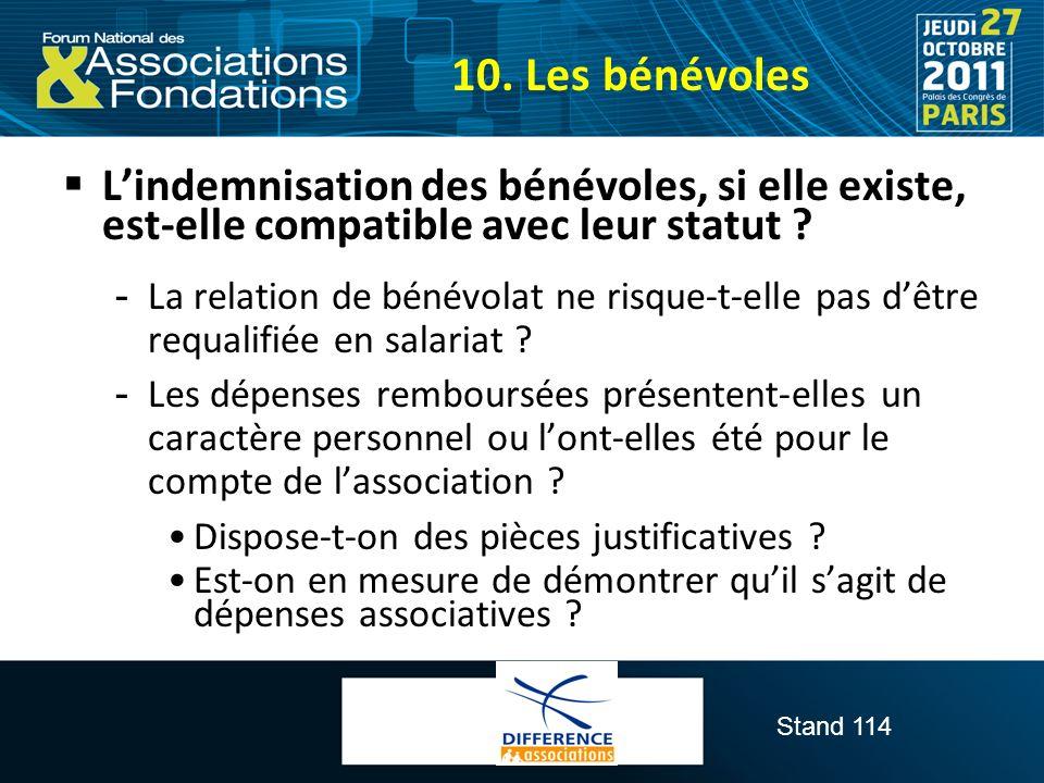 Stand 114 Lindemnisation des bénévoles, si elle existe, est-elle compatible avec leur statut ?  La relation de bénévolat ne risque-t-elle pas dêtre r