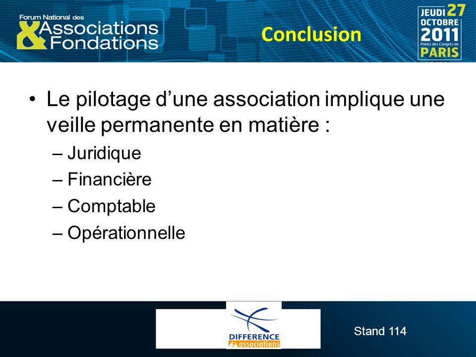Stand 114 Conclusion Le pilotage dune association implique une veille permanente en matière : –Juridique –Financière –Comptable –Opérationnelle