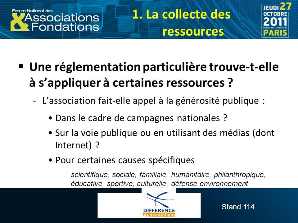 Stand 114 Une réglementation particulière trouve-t-elle à sappliquer à certaines ressources ?  Lassociation fait-elle appel à la générosité publique