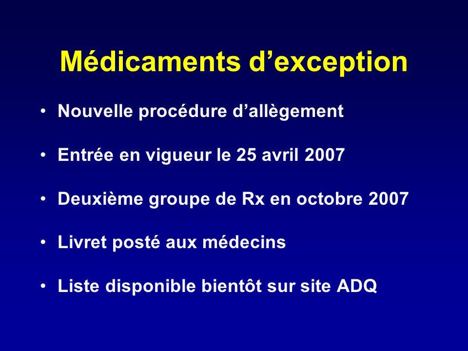Médicaments dexception Nouvelle procédure dallègement Entrée en vigueur le 25 avril 2007 Deuxième groupe de Rx en octobre 2007 Livret posté aux médeci