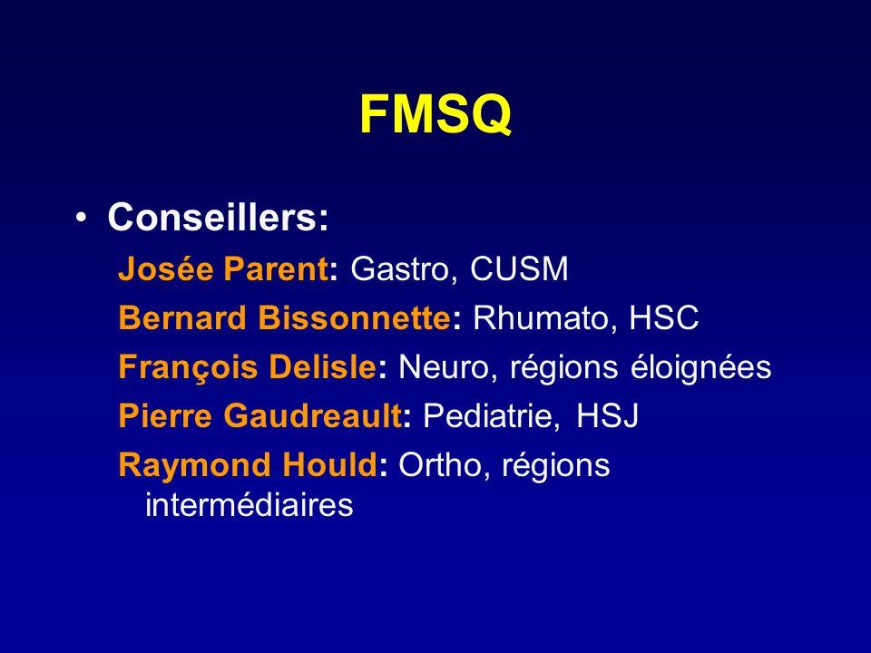 FMSQ Conseillers: Josée Parent: Gastro, CUSM Bernard Bissonnette: Rhumato, HSC François Delisle: Neuro, régions éloignées Pierre Gaudreault: Pediatrie