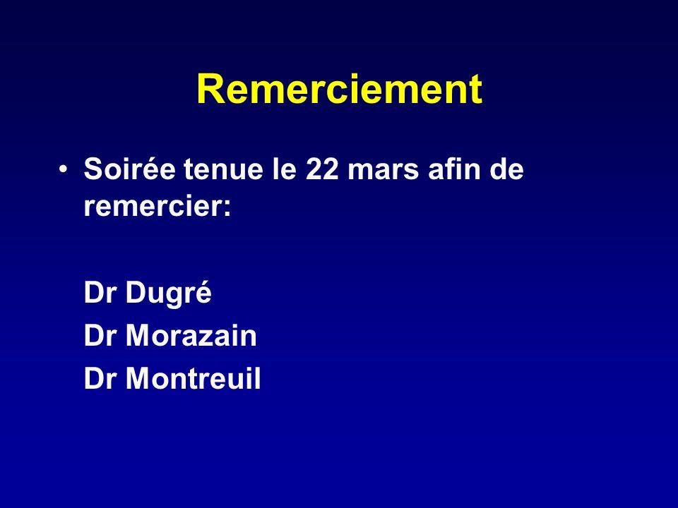Remerciement Soirée tenue le 22 mars afin de remercier: Dr Dugré Dr Morazain Dr Montreuil