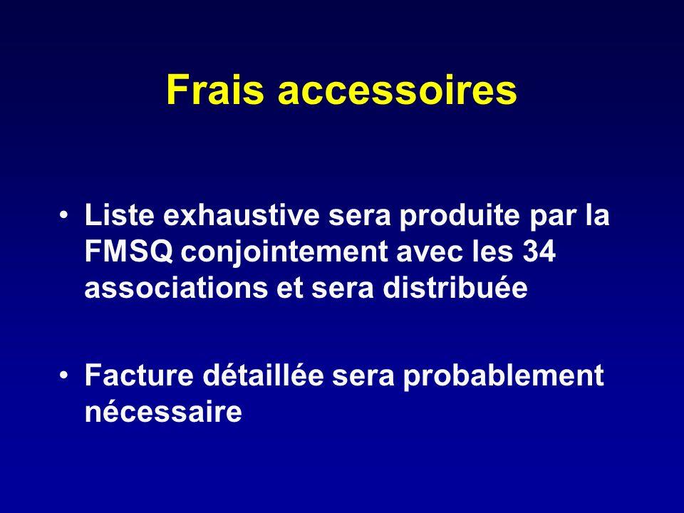 Frais accessoires Liste exhaustive sera produite par la FMSQ conjointement avec les 34 associations et sera distribuée Facture détaillée sera probable
