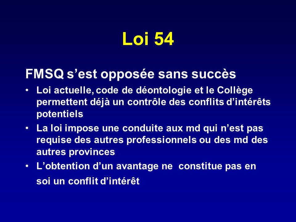 Loi 54 FMSQ sest opposée sans succès Loi actuelle, code de déontologie et le Collège permettent déjà un contrôle des conflits dintérêts potentiels La