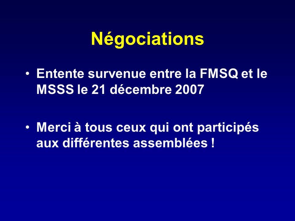 Négociations Entente survenue entre la FMSQ et le MSSS le 21 décembre 2007 Merci à tous ceux qui ont participés aux différentes assemblées !
