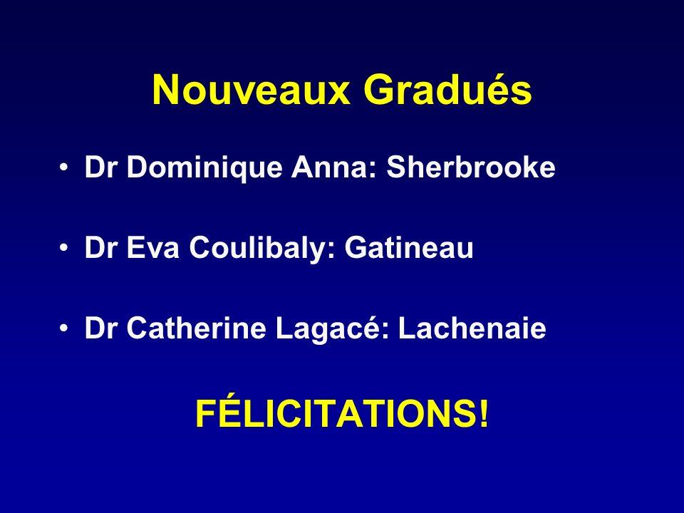 Nouveaux Gradués Dr Dominique Anna: Sherbrooke Dr Eva Coulibaly: Gatineau Dr Catherine Lagacé: Lachenaie FÉLICITATIONS!