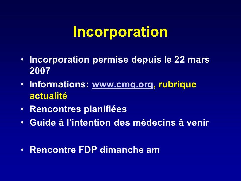 Incorporation Incorporation permise depuis le 22 mars 2007 Informations: www.cmq.org, rubrique actualitéwww.cmq.org Rencontres planifiées Guide à lint
