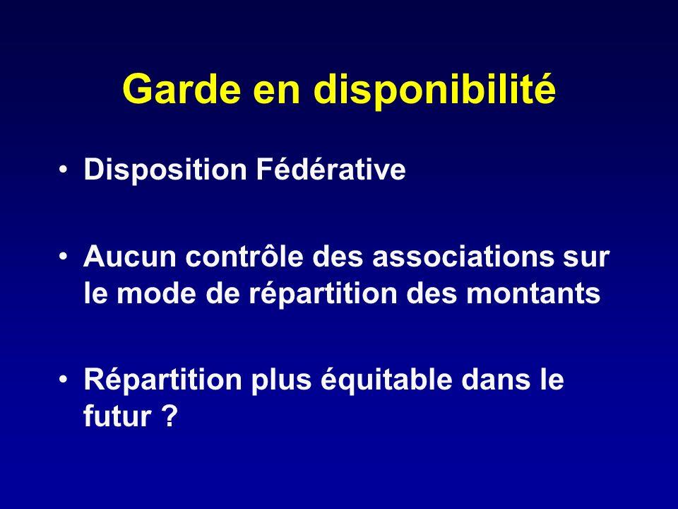 Garde en disponibilité Disposition Fédérative Aucun contrôle des associations sur le mode de répartition des montants Répartition plus équitable dans