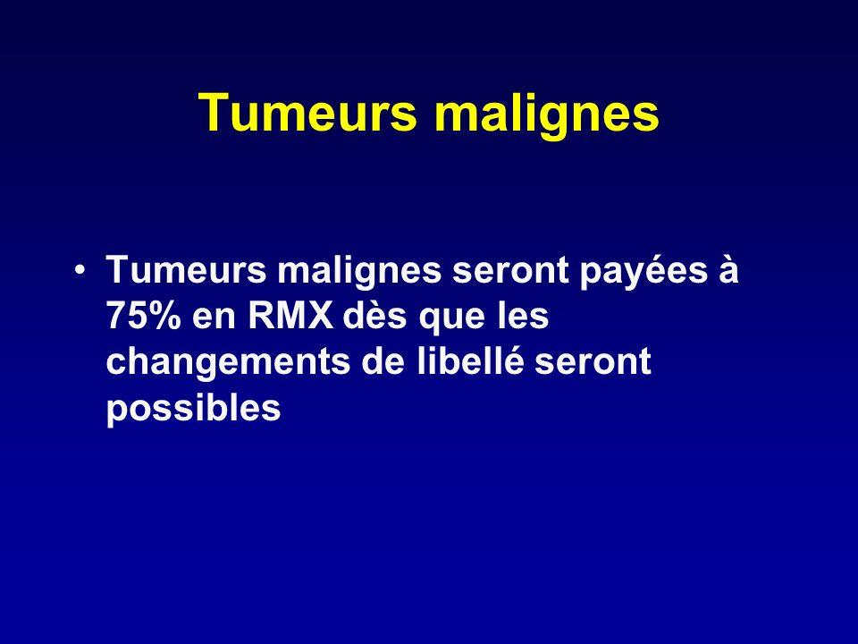 Tumeurs malignes Tumeurs malignes seront payées à 75% en RMX dès que les changements de libellé seront possibles