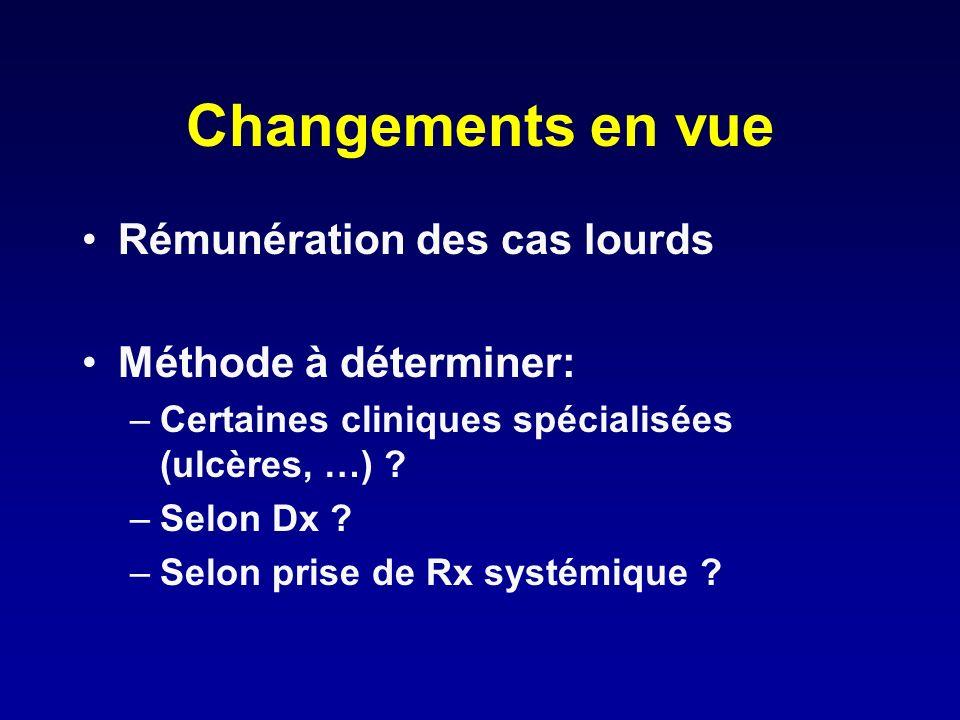Changements en vue Rémunération des cas lourds Méthode à déterminer: –Certaines cliniques spécialisées (ulcères, …) ? –Selon Dx ? –Selon prise de Rx s