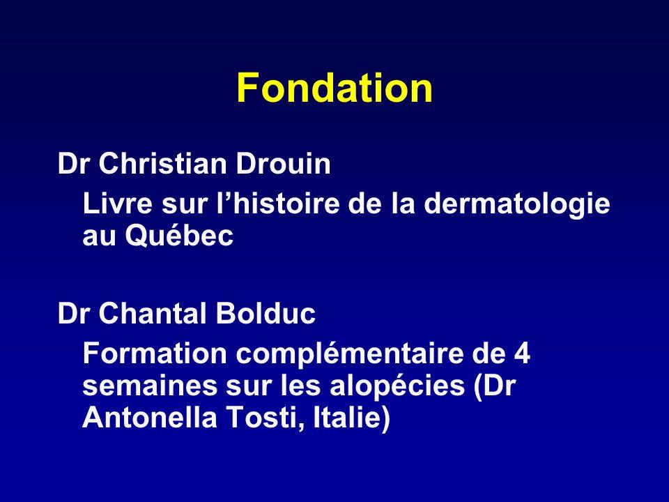 Fondation Dr Christian Drouin Livre sur lhistoire de la dermatologie au Québec Dr Chantal Bolduc Formation complémentaire de 4 semaines sur les alopéc