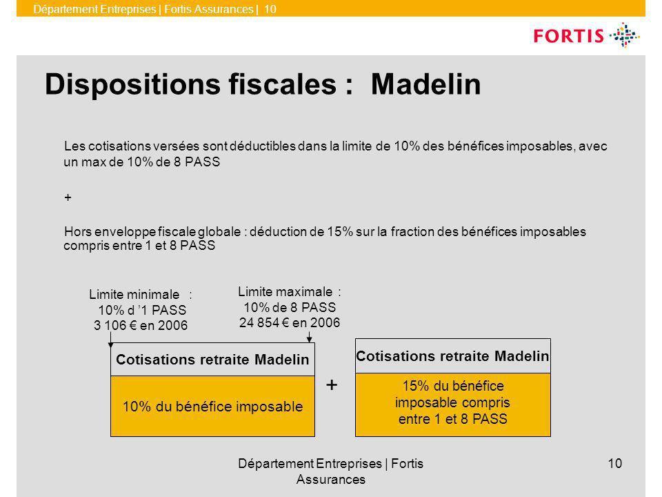 Département Entreprises | Fortis Assurances | 10 Département Entreprises | Fortis Assurances 10 Dispositions fiscales : Madelin Les cotisations versées sont déductibles dans la limite de 10% des bénéfices imposables, avec un max de 10% de 8 PASS + Hors enveloppe fiscale globale : déduction de 15% sur la fraction des bénéfices imposables compris entre 1 et 8 PASS + Cotisations retraite Madelin 15% du bénéfice imposable compris entre 1 et 8 PASS Limite minimale : 10% d 1 PASS 3 106 en 2006 10% du bénéfice imposable Cotisations retraite Madelin Limite maximale : 10% de 8 PASS 24 854 en 2006
