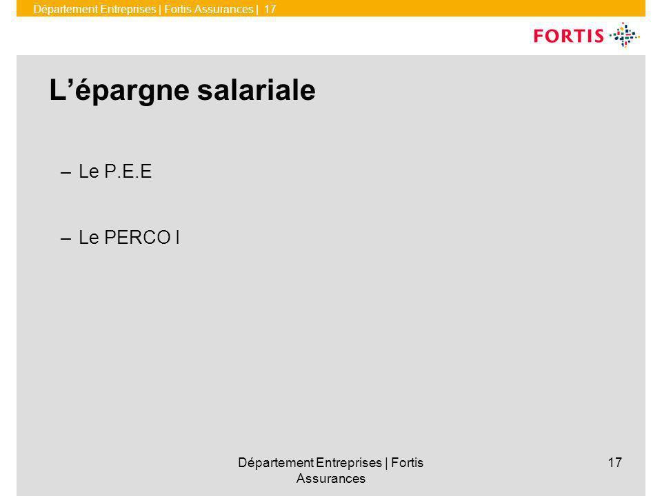 Département Entreprises | Fortis Assurances | 17 Département Entreprises | Fortis Assurances 17 Lépargne salariale – Le P.E.E – Le PERCO I