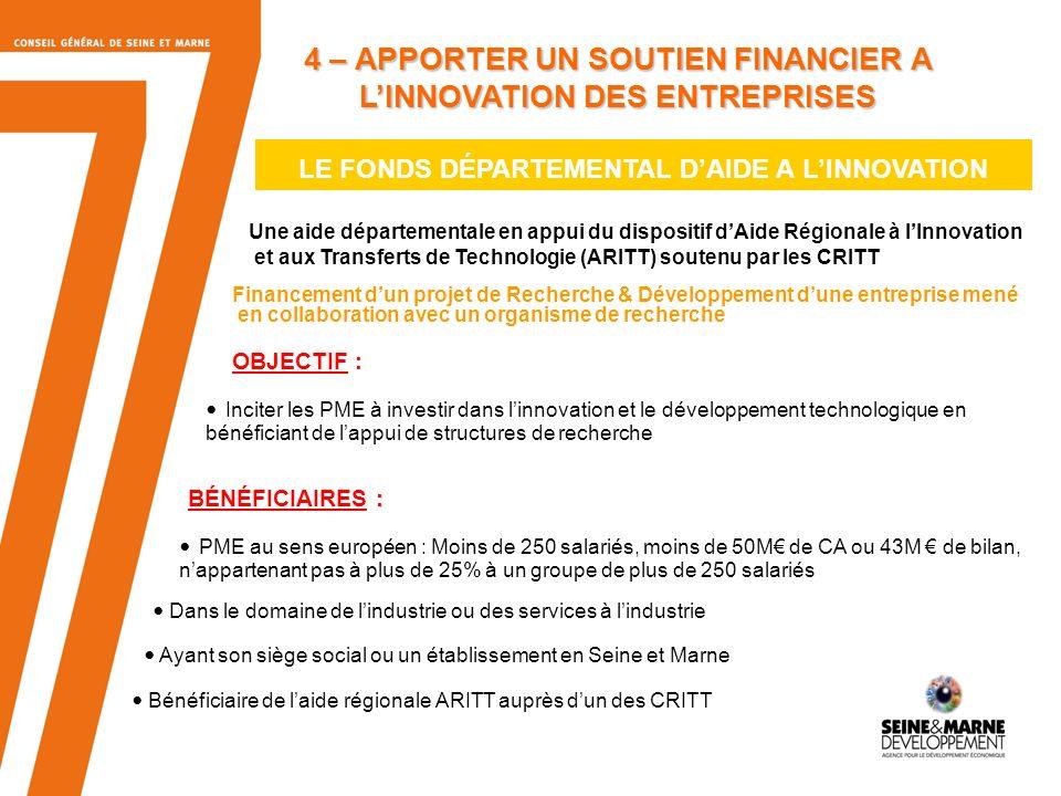 11 LE FONDS DÉPARTEMENTAL DAIDE A LINNOVATION Une aide départementale en appui du dispositif dAide Régionale à lInnovation et aux Transferts de Techno