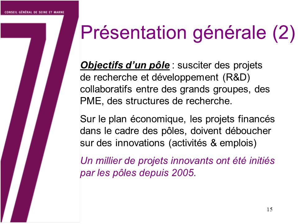 15 Présentation générale (2) Objectifs dun pôle : susciter des projets de recherche et développement (R&D) collaboratifs entre des grands groupes, des