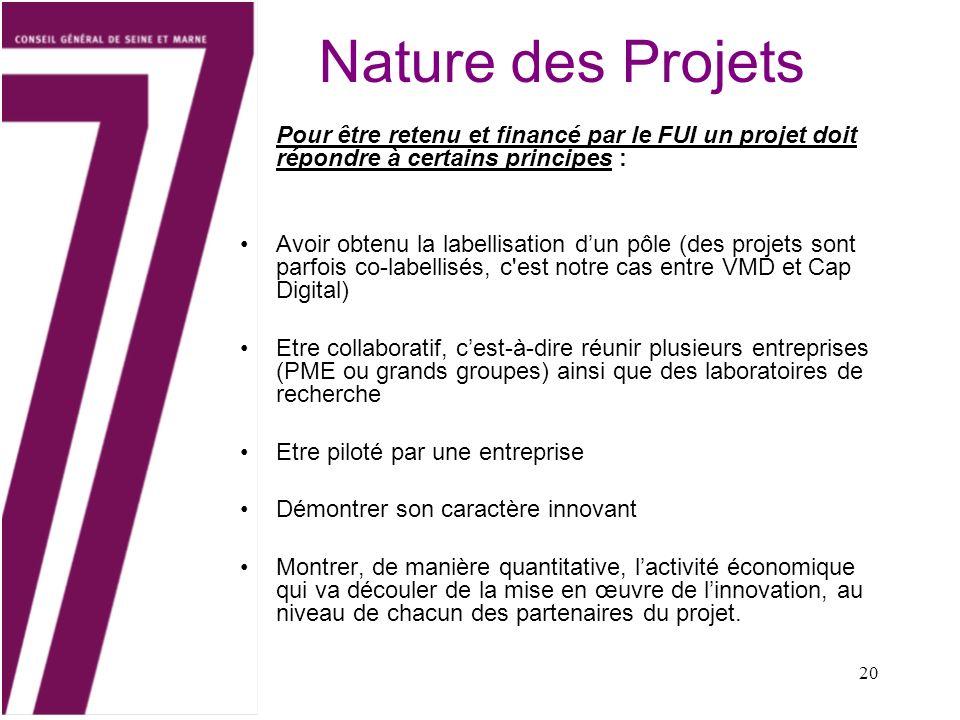 20 Nature des Projets Pour être retenu et financé par le FUI un projet doit répondre à certains principes : Avoir obtenu la labellisation dun pôle (de