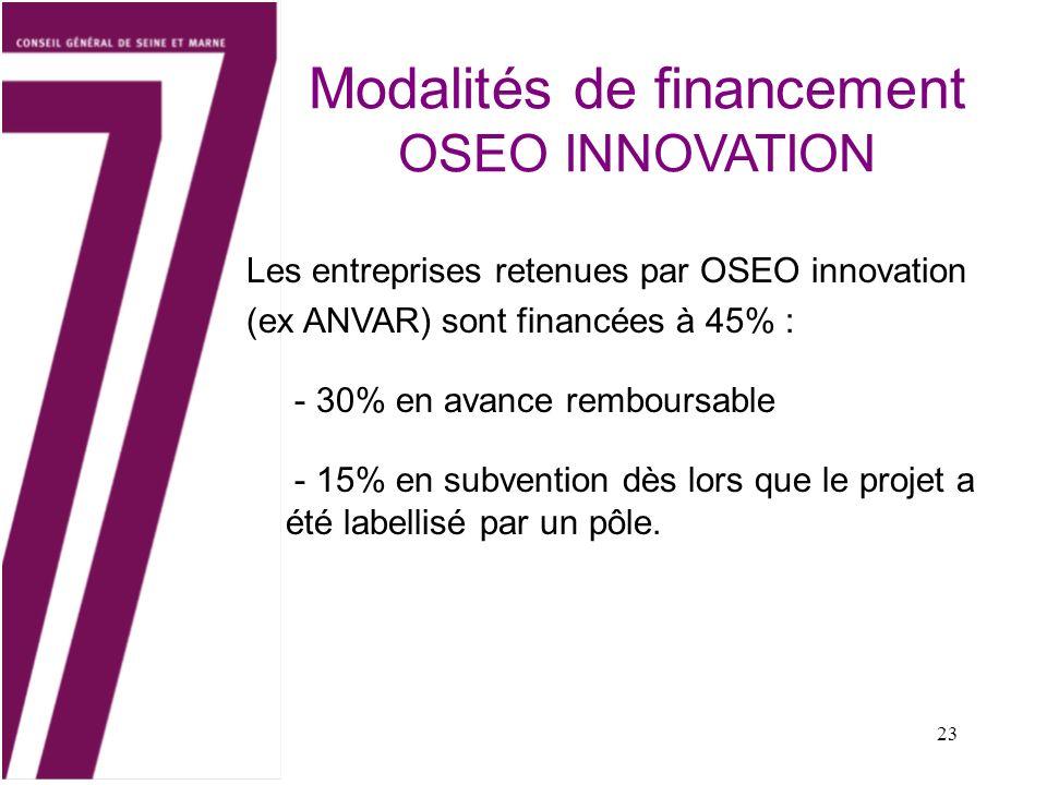 23 Les entreprises retenues par OSEO innovation (ex ANVAR) sont financées à 45% : - 30% en avance remboursable - 15% en subvention dès lors que le pro