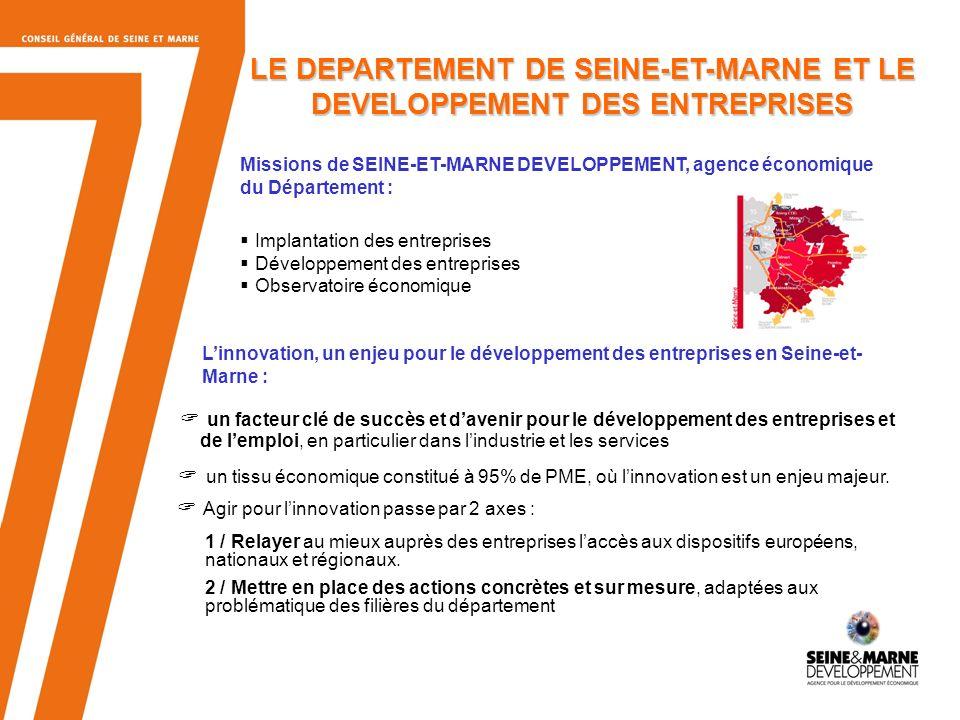 14 Présentation générale (1) 71 Pôles de Compétitivité en France 7 Pôles de Compétitivité franciliens - SYSTEM@TIC (Electronique) - CAP DIGITAL( Vie numérique, audiovisuel, multimédia) - MOVEO (Automobile) - MEDICEN (Santé) - VILLE et MOBILITE DURABLES (construction, habitat,ville et urbanisme, mobilité et transports) - ASTech (Aéronautique) - FINANCES INNOVATION La SEINE ET MARNE adhère à 3 pôles