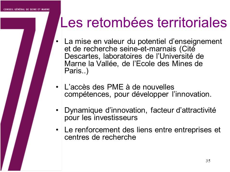 35 Les retombées territoriales La mise en valeur du potentiel denseignement et de recherche seine-et-marnais (Cité Descartes, laboratoires de lUnivers