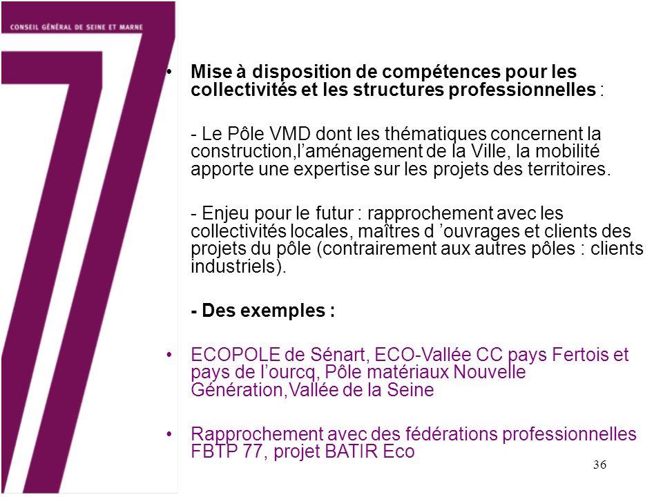 36 Mise à disposition de compétences pour les collectivités et les structures professionnelles : - Le Pôle VMD dont les thématiques concernent la cons
