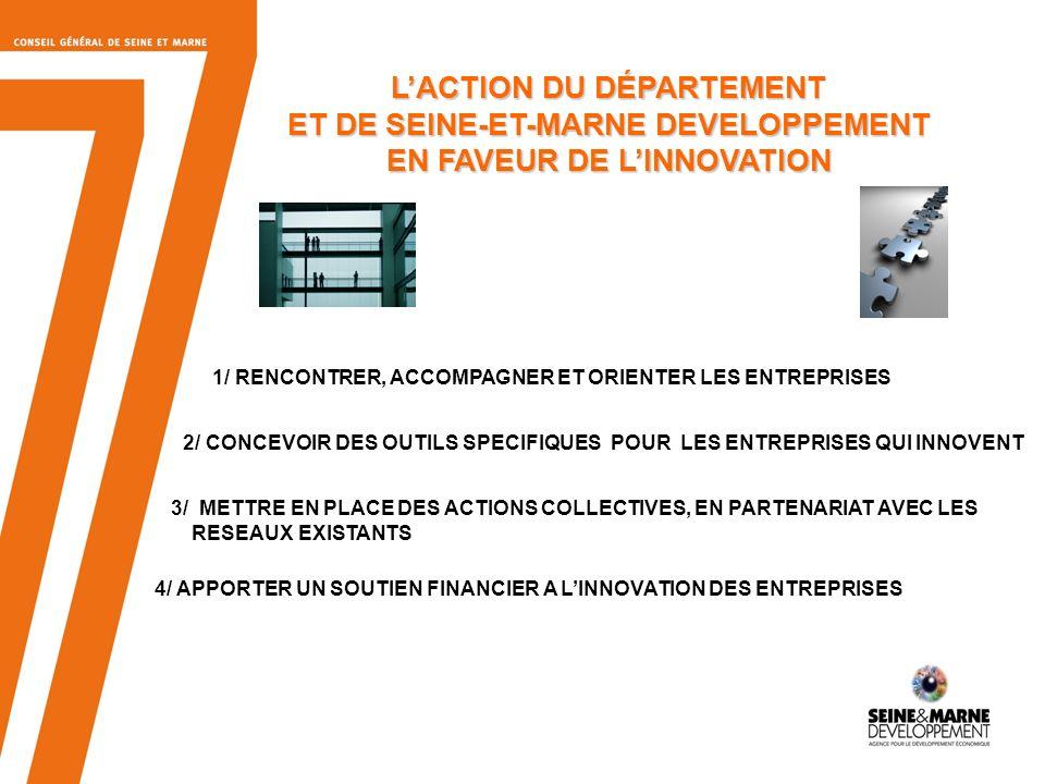 5 1 - RENCONTRER, ACCOMPAGNER ET ORIENTER LES ENTREPRISES Mission de lagence économique du Département, Seine-et-Marne Développement UNE ÉQUIPE DE 10 CHARGÉS DE MISSION pour aider les entreprises à établir leur plan de R&D diagnostiquer des voies de financement pour leurs projets UNE CHARGÉE DE MISSION « INNOVATION » les mettre en relation avec des partenaires pour leurs innovations : - structures de recherche : laboratoires, centres technologiques - pôles de compétitivité - partenaires du financement de projets - autres entreprises partenaires potentielles sur le terrain, pour rencontrer les entreprises et les aider dans leurs projets dimplantation, de développement et dexportation