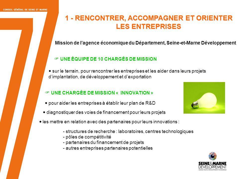 5 1 - RENCONTRER, ACCOMPAGNER ET ORIENTER LES ENTREPRISES Mission de lagence économique du Département, Seine-et-Marne Développement UNE ÉQUIPE DE 10