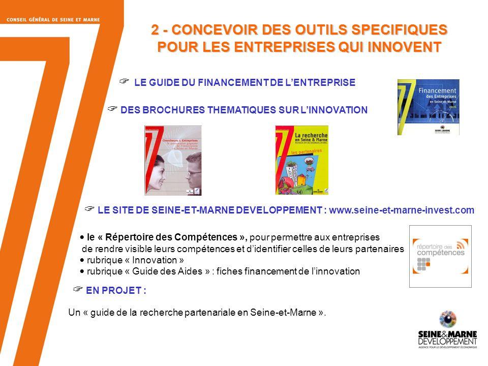 6 2 - CONCEVOIR DES OUTILS SPECIFIQUES POUR LES ENTREPRISES QUI INNOVENT LE GUIDE DU FINANCEMENT DE LENTREPRISE DES BROCHURES THEMATIQUES SUR LINNOVATION LE SITE DE SEINE-ET-MARNE DEVELOPPEMENT : www.seine-et-marne-invest.com le « Répertoire des Compétences », pour permettre aux entreprises de rendre visible leurs compétences et didentifier celles de leurs partenaires rubrique « Innovation » rubrique « Guide des Aides » : fiches financement de linnovation EN PROJET : Un « guide de la recherche partenariale en Seine-et-Marne ».