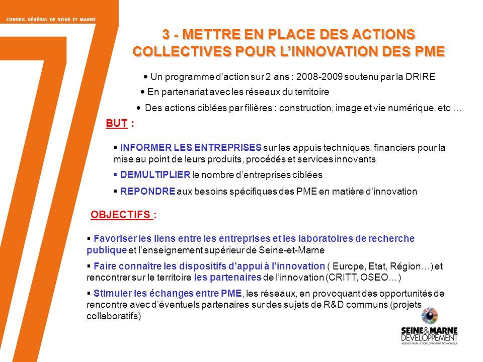 8 « Les Rencontres Professionnelles de lInnovation en Seine-et-Marne » Mardi 11 Mars 2008 de 9h30 à 12h30 « Monter un projet dans le domaine du numérique et du multimedia avec le pôle de compétitivité cap digital » Mardi 18 Mars 2008 de 9h30 à 12h30 « Construction et habitat, urbanisme et réseaux, transports et mobilité : monter un projet avec le pôle Ville et Mobilité Durables » À Seine-et-Marne Développement, au Parc dentreprises du Val dEurope 3 - LES ACTIONS COLLECTIVES POUR LINNOVATION DES PME DE SEINE-ET-MARNE