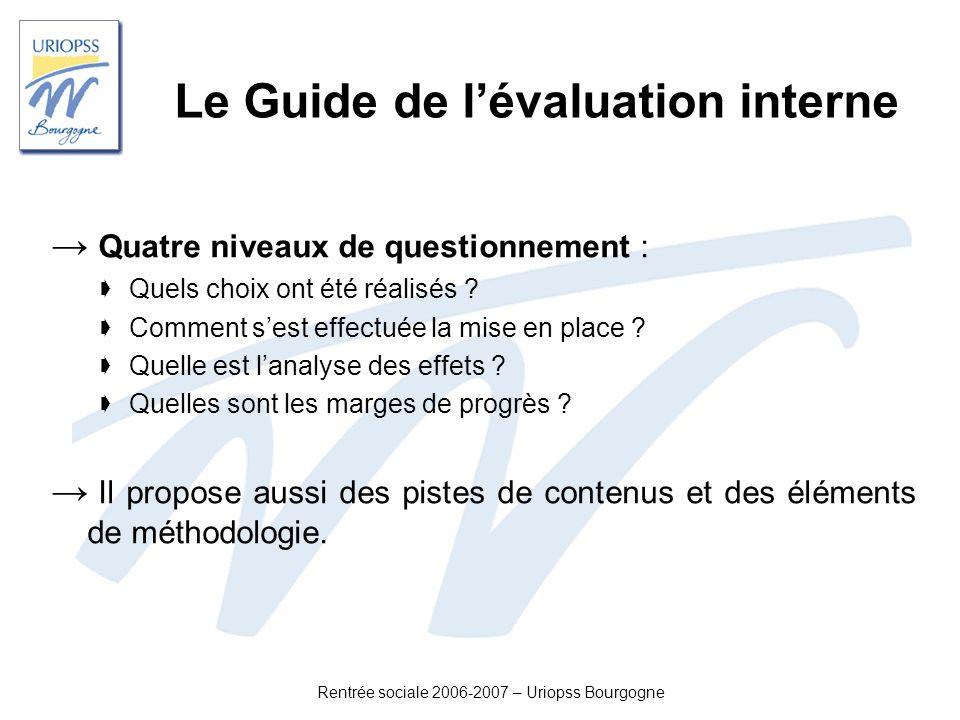 Rentrée sociale 2006-2007 – Uriopss Bourgogne Le Guide de lévaluation interne Quatre niveaux de questionnement : Quels choix ont été réalisés ? Commen