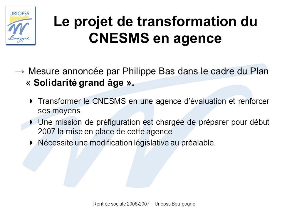 Rentrée sociale 2006-2007 – Uriopss Bourgogne Le projet de transformation du CNESMS en agence Mesure annoncée par Philippe Bas dans le cadre du Plan «