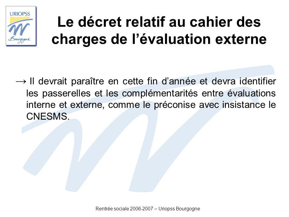 Rentrée sociale 2006-2007 – Uriopss Bourgogne Le décret relatif au cahier des charges de lévaluation externe Il devrait paraître en cette fin dannée e