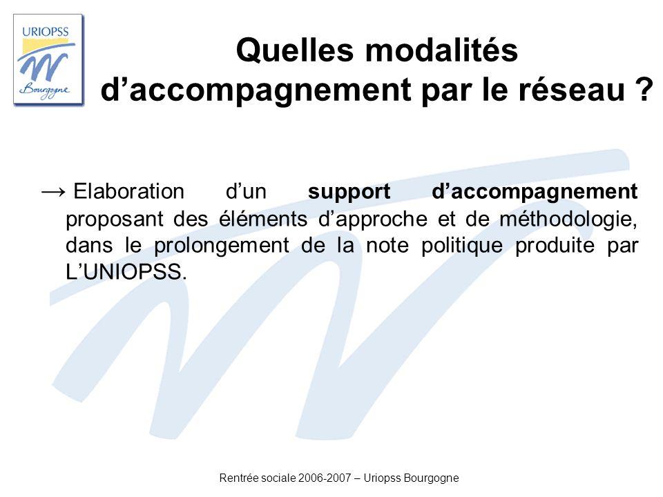 Rentrée sociale 2006-2007 – Uriopss Bourgogne Quelles modalités daccompagnement par le réseau ? Elaboration dun support daccompagnement proposant des