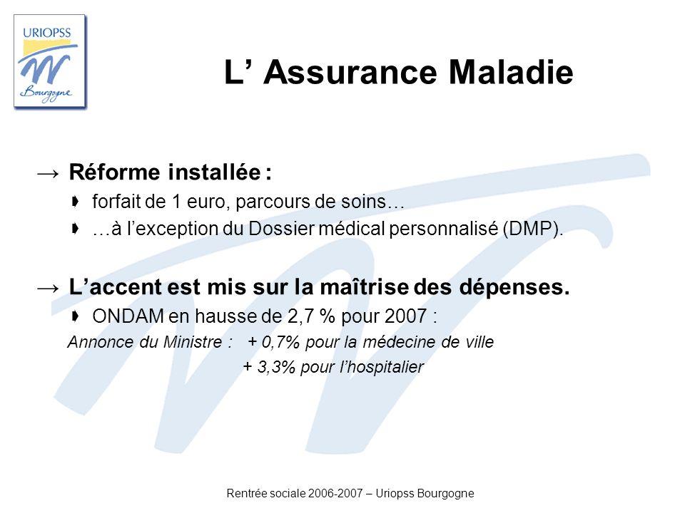 Rentrée sociale 2006-2007 – Uriopss Bourgogne L Assurance Maladie Réforme installée : forfait de 1 euro, parcours de soins… …à lexception du Dossier m